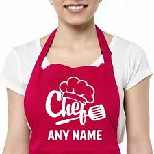 More details for personalised apron kitchen cooking chef glitter hat baking mens women name gift