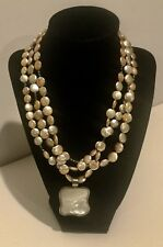 STUNNING BARSE TRIPLE STRAND AND STERLING SILVER MOTHER OF PEARL NECKLACE