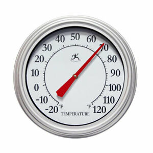 Infinity Instruments 15355SV-4336 12-Inch Round Outdoor Thermometer, Silver