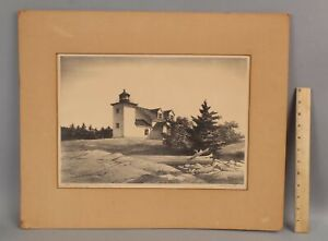 1968 STOW WENGENROTH Lithograph Print RIVER LIGHT Fort Point Lighthouse MAINE