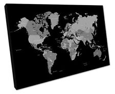 BLACK WHITE WORLD MAP CANVAS WALL ART PICTURE LARGE 75 X 50 CM