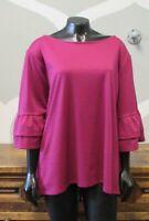 HALOGEN Womens Fuchsia Pink 3/4 Flouncy Sleeve Boat Neck Tunic Top - XL