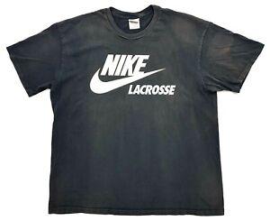 Vintage Nike Lacrosse Tee Black Size XXL Mens T-Shirt Distressed