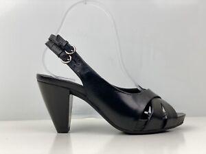 Clarks Womens Black Leather Block Heel Slingback Sandal UK Size 4