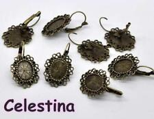 4 Antique Bronze Cabochon Earring Settings Earwires - Earring - 24mm