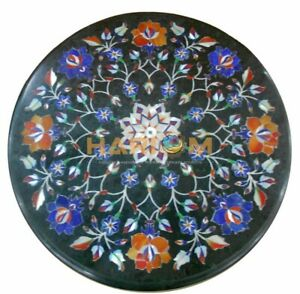 "14"" Marble Coffee Table Top Lapis Carnelian Inlay Floral Marquetry Decors B168"