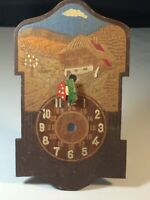 Vintage Cuckoo Clock Black Forest Germany Novelty Chalet Wood Front Frame Dial