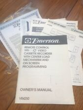 Emerson Owner'S Manual Remote Control Vhs/ Hq Video Vr4250 Ships N 24h
