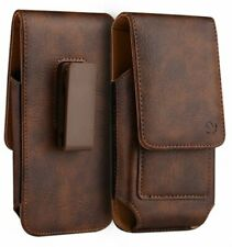 For XL Samsung Phone Holster Case Brown Vertical Leather Pouch w/ Belt Clip Loop