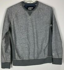 Mens Lands End Sweat Shirt Medium Crew Gray Cotton Blend