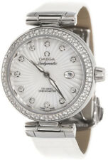 425.38.34.20.55.001   NEW OMEGA DeVILLE LADYMATIC WATCH W/ WHITE LEATHER STRAP