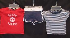 Baby Girl Ralph Lauren Short Outfit with S/S Top Navy Red 9M Shorts 12M Tops EUC