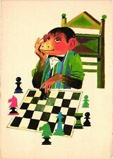 Chess, Sport, Monkey Gentleman Playing Chess, 1960's, Old Hungarian Postcard
