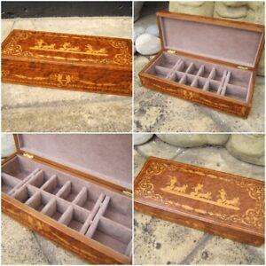 ANTIQUE JEWELLERY BOX -  EARLY SORRENTO INLAID AMBOYNA WONDERFUL INTERIOR