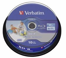 10 Verbatim 43804 White Printable Bluray 25GB 6x BD-R SL HTL Blank Discs Spindle
