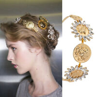 Retro Baroque Women's Embellished Headband Hairband Jewelled Crown Tiara Coin