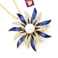 Betsey Johnson Enamel Crystal Pearl Sunflower Pendant Chain Necklace/Brooch Pin