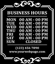 Custom Business Store Hours Sign Vinyl Decal Sticker 11