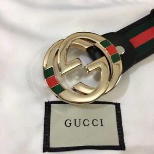 GUCCI-Men/Women's Gold Classic Black Leather Fashion Vintage Belt 100CM