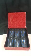Boxed set of 6 Blue Floral Patterned Drinks Tumblers c1960s