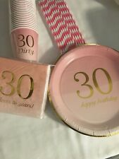 30th Birthday Pink Gold 25 Place Setting Party Pack