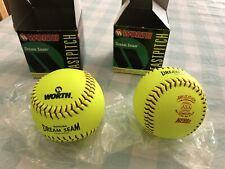"Worth Pro Leather Dream Seam Fastpitch 12"" Yellow Softballs-2"