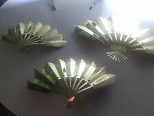 3 Vintage Home Interiors Gold Metal Fans Wall Plaques Made In Usa
