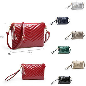 Woman Small synthetic leather V-Quilted Patent Messenger Cross Body Bag UK Local