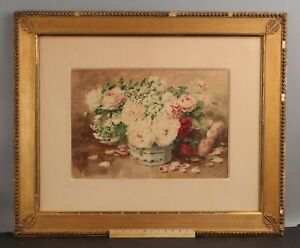 19thC Antique Signed Charles Blavet Roses Flower Still Life Watercolor Painting