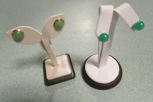 JADE EARRINGS,14K GOLD CLIPS & MOUNTING, QUANTITY 2 PAIRS, NEW ON DISPLAY STANDS