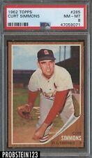 1962 Topps #285 Curt Simmons St. Louis Cardinals PSA 8 NM-MT