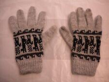 Gloves Guantes Peru Knitted Alpaca Wool Blend Fleece Handmade Gray