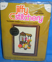 New VTG Jiffy Stitchery Flower Stand Crewel Embroidery Kit Floral Daisy Tulip