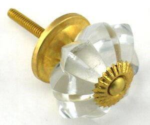 clear flower shaped cut glass drawer & cupboard door knobs brass fittings
