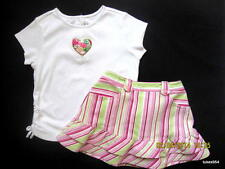 Gymboree Sweetheart Striped Pink Green Skirt Button Heart Valentine Shirt 2T 3T