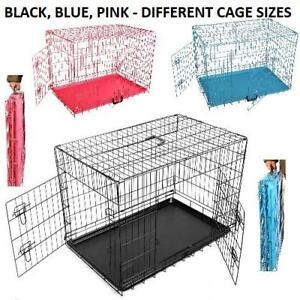 METAL DOG CAGE CARRIER PET PUPPY FOLDING TRAINING CRATE TRAVEL   BLUE BLACK PINK
