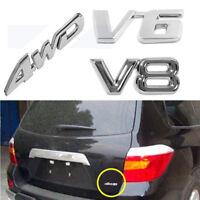 1x Car 3D Badge 4WD V6 V8 Auto Silver Chrome Decal Emblem Decor Sticker