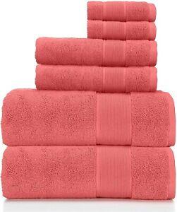 NEW! Ralph Lauren Sanders Rose Red 6 Pc Bath & Hand Towel & Washcloth Set