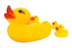 Badeenten Familie im Netz Badewannenente Quietscheenten Gummiente | 4x Enten