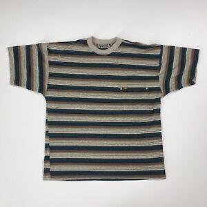 Vintage 90s Striped Quiksilver Pocket T-Shirt Size Adult Medium