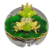 Cute Gold Tone Green Frog Purse Bag Handbag Hanger Hook Holder N3