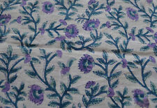 Batik Block Print Cotton Fabric in White Print 5 yard 44'' Indian Fabric Ethnic
