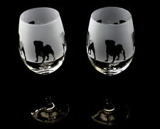 Pug Dog Wine Glasses by Glass in the Forest..Boxed