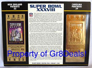SUPER BOWL 38 PATRIOTS / PANTHERS NFL 22 KT GOLD SB XXXVIII TICKET Willabee Ward