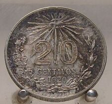 1920 Mexico Silver 20 Cents, Key Date World Silver Coin
