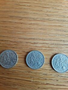 3 1960's sixpence peices, 1960 1964 and 1966