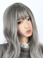 100% Human Hair Natural Long Wavy Gray Fashion Women's Wig
