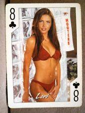 2004 Hooters Brunette Calendar Girl Lori 8 Clubs Playing Card Sexy Maroon Bikini