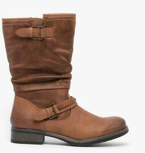 Rieker 98860-22 Womens Ladies Leather Look Warm Winter Mid Calf Boots Nut Brown