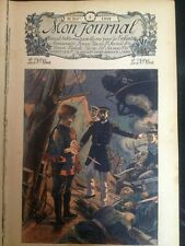 estampe gravure ancienne Mon Journal 1908-1909 marine combat